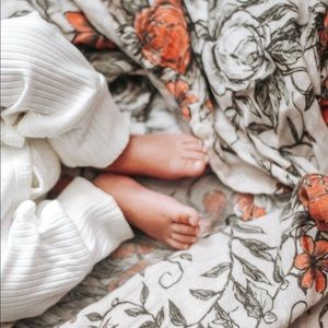 Rose & Tendrills Floral Baby Swaddle by Rorro